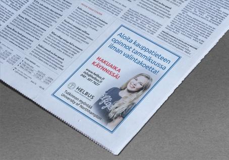 Helbus sanomalehti-ilmoitus