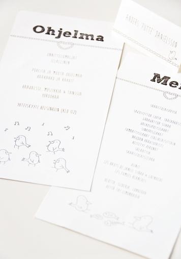 Otto & Eeva menu, ohjelma ja paikkakortti.