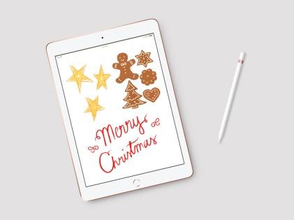 Joulukorttikuvitusta Ifolorille. Piparkakkukuvituksista tehtiin tarroja, muista korttikuvituksia. iPad ja Tayasui Sketches.