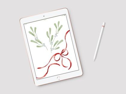 Joulukorttikuvitusta Ifolorille. iPad ja Tayasui Sketches.