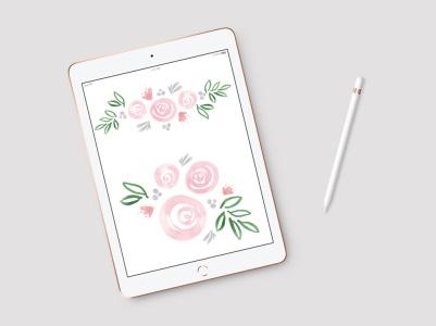 Kukkakuvio Ifolorille. iPad ja Tayasui Sketches.